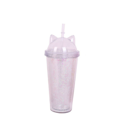 Flash with Gift Bottle Cat Ear Water Drinkware Double Drinking Straw Plastic BPA