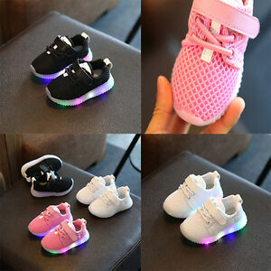 Kids-Girls-Boy-Infants-LED-Lights-Lace-UP-Breathable-Casual-Sneakers-Shoes-UKK