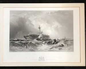 Wonderful-Framed-Steel-Engraving-039-The-Morning-After-The-Wreck-A-Dutch-East-India