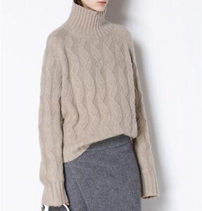 Damenmode-Rollkragen-Sweater-Oversize-Kaschmir-Jumper-Dicke-Strick-Pullover-Neu