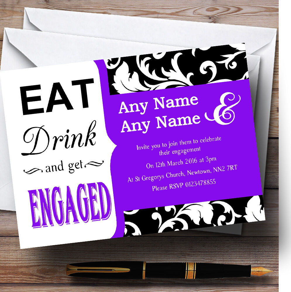 lila Vintage Damask Eat Drink Personalised Engagement Party Invitations