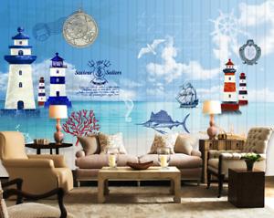 3D Beach Lighthouse 74 Wall Paper Murals Wall Print Wall Wallpaper Mural AU Kyra