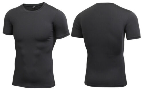 Fashion Men/'s Compression Slim Fit T-shirts Gym Fitness Quick-dry Tee Pure Color