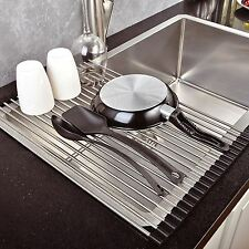 Sopra il lavello cucina DISH DRAINER asciugatura Rack Roll-Up foldinng in acciaio inox