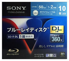 10 Sony Bluray DVD BD-R DL 50GB Dual Layer 2x Speed Inkjet Printable Bluray Disc