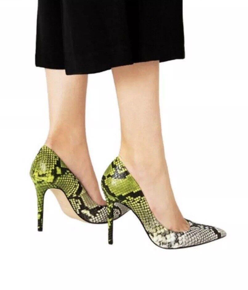 ZARA REAL LEATHER SNAKE EMBOSSED PATTERN vert HEELS TRENDY chaussures 36and 38 av.