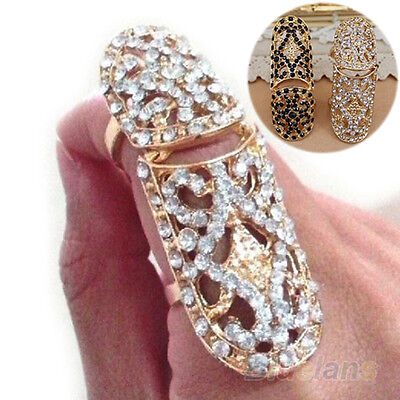 Fashion Lady Punk Full Rhinestone Crystal Scroll Joint Knuckle Finger Ring