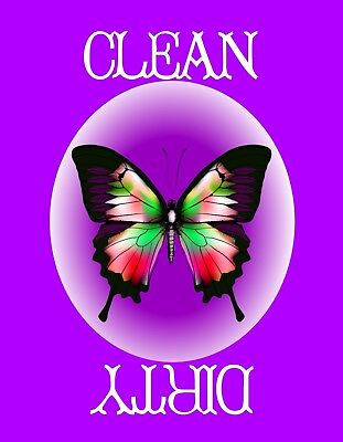 METAL DISHWASHER MAGNET Dragonfly Purple Turquoise Pink Disc Clean Dirty Dishes