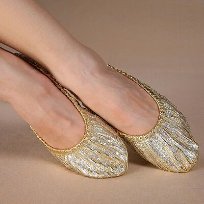 Womens Belly Dance Sequins Soft Flat Heel Shoes 7 Sizes
