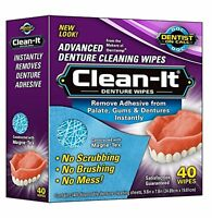 3 Pack D.o.c. Clean-it Advanced Denture Cleaning Wipes 40 Wipes Each on sale