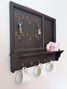 Image Is Loading Vintage Wall Shelf Unit Key Hooks Coat