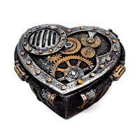 Steampunk Heart Shaped Metallic Trinket Box Jewelry Box
