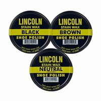 Lincoln Stain Wax Shoe Polish Black Brown Neutral Variety 3 Pack Free Shipping