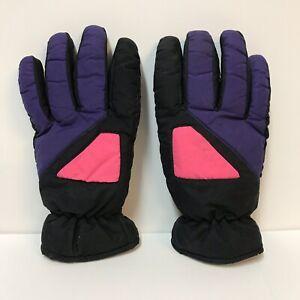 Vintage-Thinsulate-Gloves-Thermal-Insulation-Black-Purple-Pink-1990s-Snow-Ski