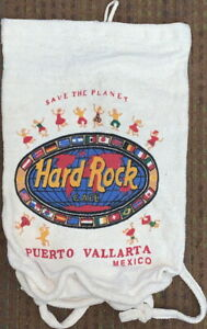 Hard-Rock-Cafe-PUERTO-VALLARTA-Drawstring-Knapsack-Backpack-Bag-Coffee-Bean-Sack