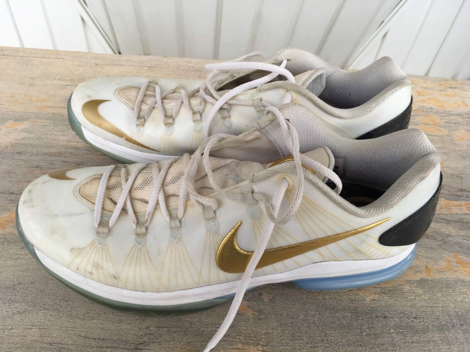 Nike KD V 5 Elite Low White-Metallic gold-Black Men's Size 12 (SKU  585385-100)