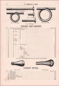 Details about CORNET, TROMBONE, Parts, Mutes, Crooks, Shanks, Antique  Catalog Pg original 1895
