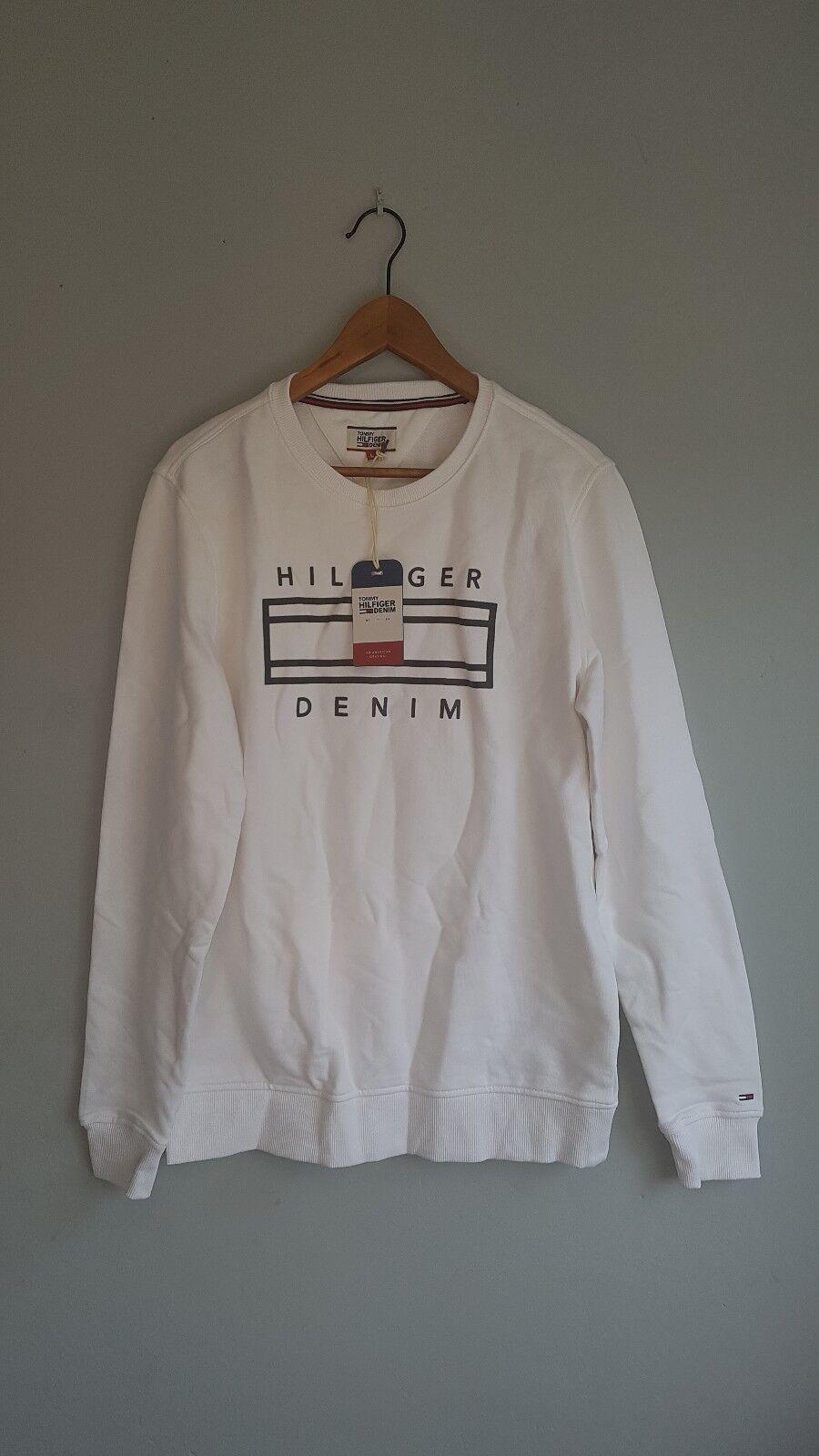 Tommy Hilfiger Denim Men Sweatshirt Weiß Logo Fleece Pullover Jumper Größe L NWT