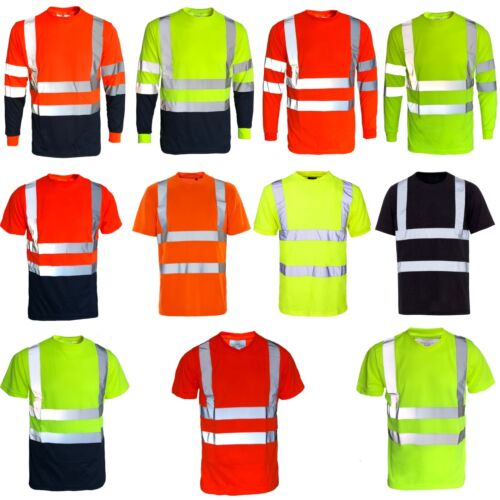 Hi Viz Vis Polo T Shirt Top High Visibility Safety Security Work Reflective Tape