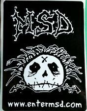 MSD ENTER MSD . COM STITCHED SKULL CRAZY HAIR BLACK WHITE B&W MUSIC CASE STICKER