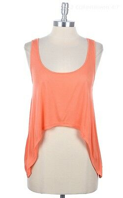Solid Sleeveless Scoop Neck Racerback Cropped Top Casual Cute Easy Wear S M L