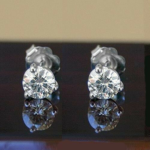 0.50 CT MOISSANITE ROUND FOREVER ONE GHI MARTINI STUDS EARRINGS