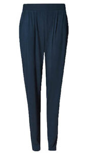 3dd1665f54 Details about Ex M*S Womens Jersey Tapered Leg Pullon Trousers Navy Black  Size 6 - 24