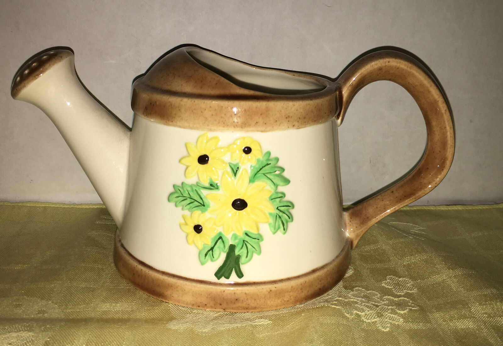 Vtg White 1974 Small Watering Can Brown Trim Yellow Flowers