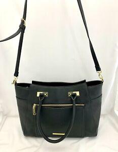 Steve Madden Large Black Faux Leather Convertible Shoulder Bag Purse Handbag