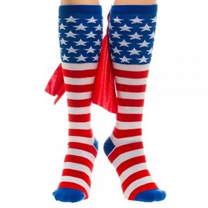 474516bf7b3 Details about 4th of July USA American Flag Stars Stripes KNEE HIGH SOCKS  w  Cape Patriotic