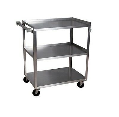 """100% Quality Stainless Steel Utility Cart, 3 Shelves -24"""" X 15.5"""", Holds 300lbs Bbkc-1524s-3s"""