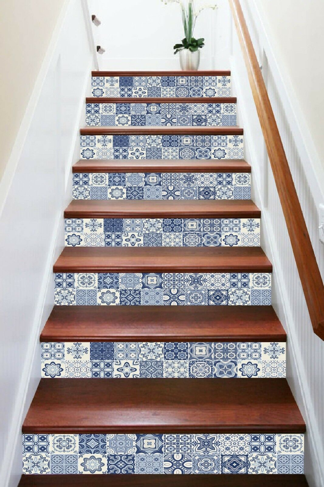 3D Klassisch Blaumen 1 Fliesen Marmor Stair Risers Vinyl Tapete Fototapete DE
