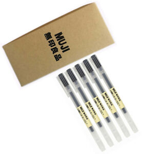 MUJI-Moma-Japan-0-38mm-Non-toxic-Gel-Ink-Black-5-Pens-Fastest-Free-Shipping