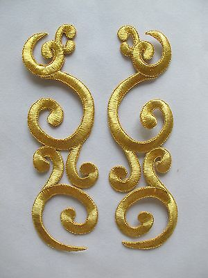 "#2232 6-3/4"" Gold,Silver Trim Fringe Boho Art Embroidery Applique Patch/Pair"