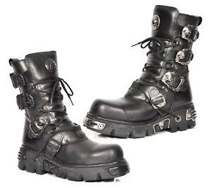 3735dd738b0 New Rock Mens Biker Style Boots Black Leather Skull Buckle Design ...