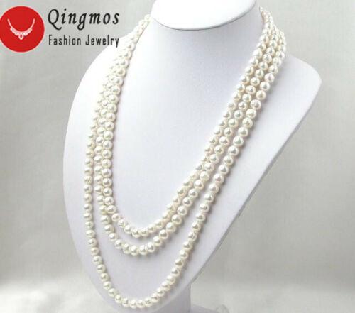 """Long 80/"""" rond blanc 6-7 mm naturelle d/'eau douce collier de perles pour femmes nec1074"""