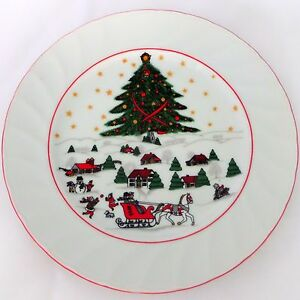 Christmas-Pleasure-by-Kopin-Salad-Plate-Scalloped-Red-Trim-Snow-Village-Scene