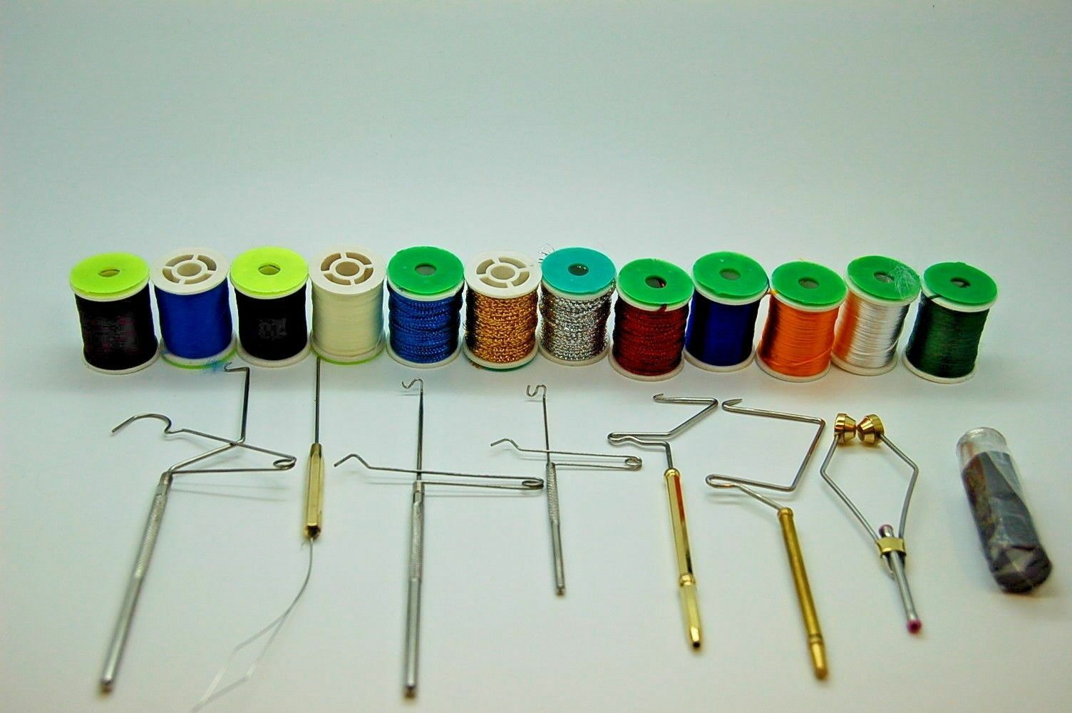 Kit de Herramientas y Materiales para Moscas, Hilo, Tinsel, Floss, Whip Finisher