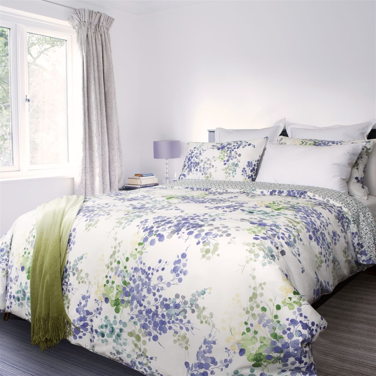 Heather Floral Printed Luxury 300TC 100% Cotton Sateen Duvet Cover Bed Set