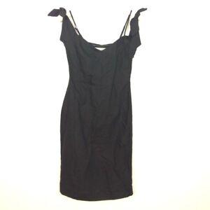 54f5b846a544e Abercrombie Fitch Dress Size 2 V-Neck Cold Shoulder Black Linen ...