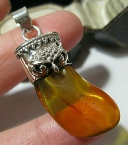 STERLING SILVER REAL AMBER LARGE OWL NECKLACE PENDANT