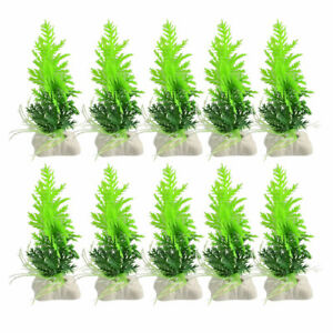 10-Pcs-Ceramic-Base-Green-Plastic-Plant-Fish-Tank-Aquarium-Ornament-4-7-034