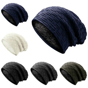 New Womens Fleece Lined Hat Woolly Thin Insulated Winter Beanie Knitted Cap