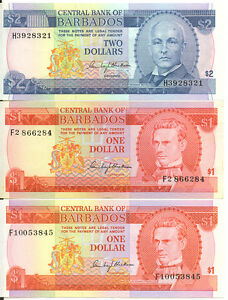 Central-Bank-of-Barbados-1973-ND-Issue-Lot-of-3-Notes-1-2-One-Two-Dollars-EF