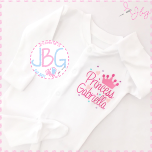 Personalised-Embroidered-Crown-Sleepsuit-Bodysuit-039-Princess-039-Baby-Girl-Clothes