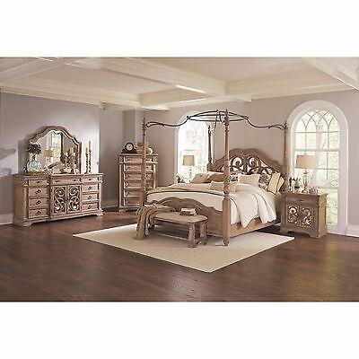 4 Pc Antique Linen Wood Metal King Canopy Poster Bed Bedroom Furniture Set Ebay