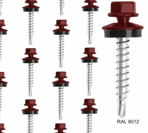 Trapèze Tôle Vis Tête Hexagonale-RAL 8012 Brun rouge taille 4,8 x 50 mm 100st.