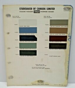 1964  STUDEBAKER  CANADA CAR COLOR CANADIAN PAINT CHIP DUPONT CHART