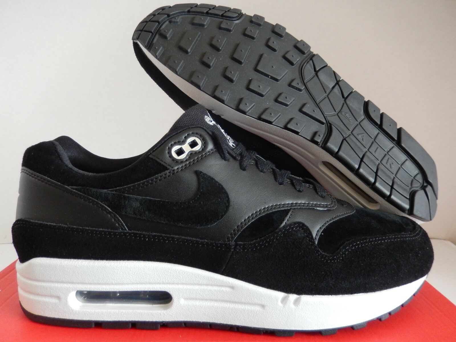 NIKE AIR MAX 1 PREMIUM BLACK-CHROME-OFF WHITE  SKULLS  SZ 10
