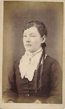 c1860 CDV Curls and Braids Elaborate Hairstyle, Lace Jabot Lady, Wellington, OH